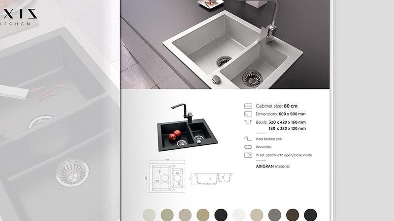 Projekt iskład katalogu produktowego zezlewozmywakami Axis Kitchen