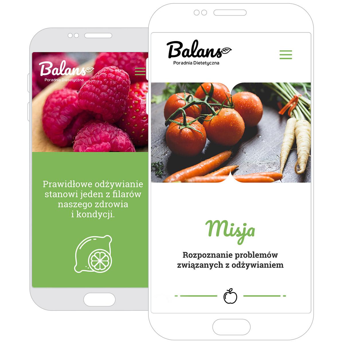 Strona internetowa Dietetyka Balans nasmartphonie