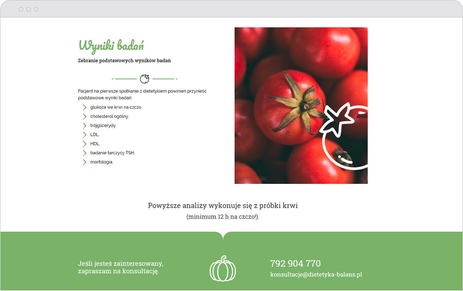 Przykładowy zrzut zestrony internetowej Dietetyka Balans
