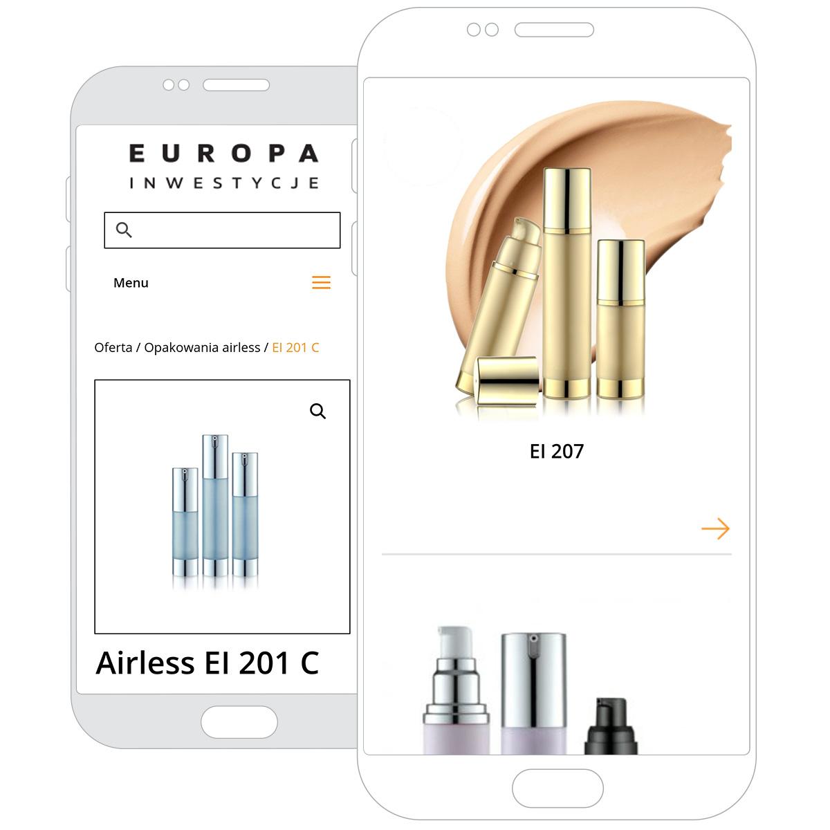 Strona internetowa Europa Inwestycje nasmartphonie