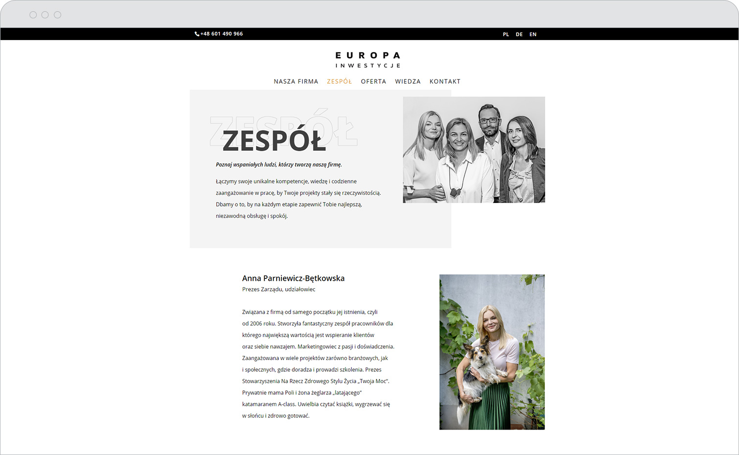 Strona internetowa Europa inwestycje podstrona zinformacjami ozespole