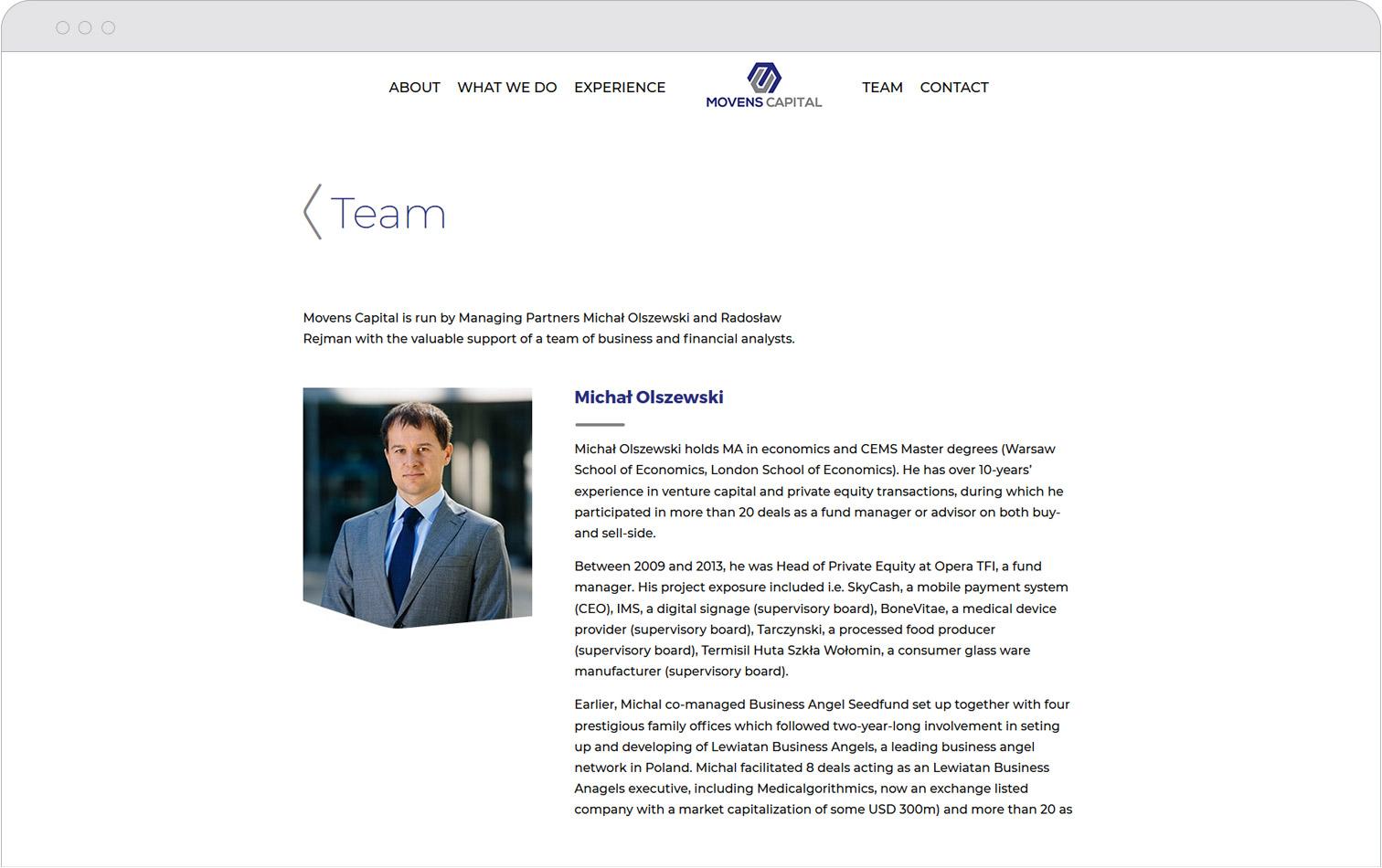 Sekcja Team nastronie internetowej Movens Capital