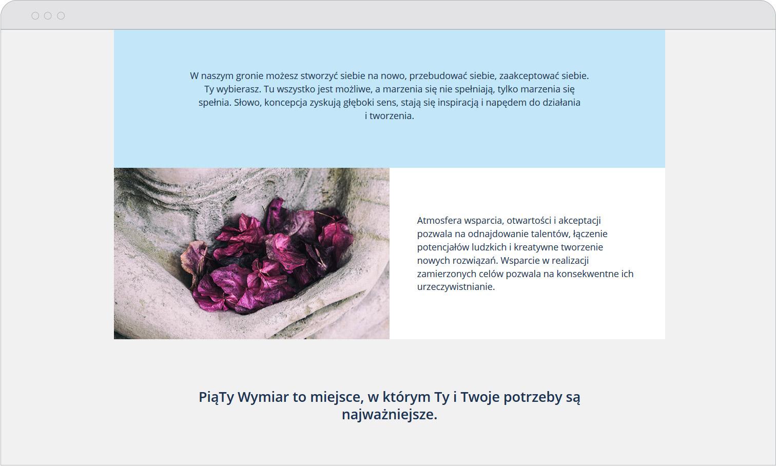 Strona www PiąTy Wymiar podstrona Misja