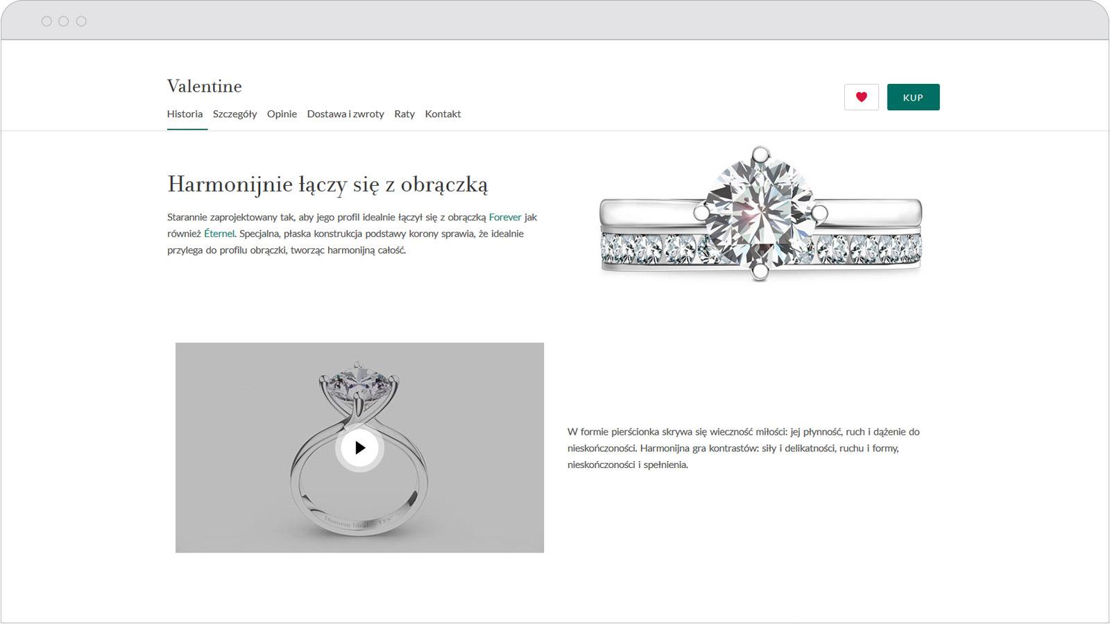 Animacja 3D zpierścionkiem Valentine nastronie internetowej YES